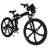 Ancheer Faltbares Elektrofahrrad, Elektrisches Mountainbike, 26-Zoll, Lithium-Ionen-Akku mit Hoher Kapazität (36 V, 250 W), Shimano 21-Gang