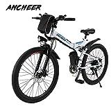 ANCHEER Elektrofahrrad Faltbares Mountainbike, 26 Zoll Reifen Elektrisches Fahrrad Ebike mit 250W bürstenlosem Motor und 36V 8Ah Lithium-Batterie Shimano...