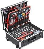 Meister Werkzeugtrolley 156-teilig  Werkzeug-Set  Mit Rollen  Teleskophandgriff | Profi Werkzeugkoffer befüllt | Werkzeugkiste fahrbar auf Rollen | Werkzeugbox...