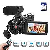 Camcorder, Kenuo VideoKamera FHD 1080P 24MP 3''LCD-Touchscreen IR Nachtsicht Digitalkamera 16X-Digitalzoom Vlogging Kamera Recorder mit externem Mikrofon...