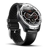 TicWatch Pro Smartwatch Intelligente Armbanduhr mit Herzfrequenzsensor (Android Wear, GPS, Wear OS by Google, Google Assistant, Bluetooth, NFC) Sportuhr Kompatibel mit Android und ios Fitnesstuhr mit Mehrschichtigem Display und Lederband, Silver