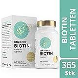 Biotin Tabletten - Hochdosiert mit 10.000 mcg D-Biotin pro Tablette - 365 vegane Tabletten im 1-Jahresvorrat - Vitamin B7 für Haare, Haut und Nägel von...