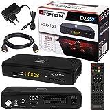 SATELLITEN SAT RECEIVER  HB DIGITAL DVB-S/S2 SET: Hochwertiger DVB-S/S2 Receiver + HDMI Kabel mit Ethernet Funktion und vergoldeten Anschlüssen (HD Ready, HDTV, HDMI, SCART, USB 2.0, Koaxial Ausgang, Opticum AX150 )