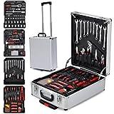 FEMOR 599-teilige Alu Werkzeugkoffer mit Werkzeug bestückt, Universal Werkzeugkasten, Werkzeugtrolley im praktischen Koffer mit hochwertigen Arbeitshandschuhe
