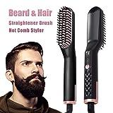 Bartglätter,Haarglätter Bürste für Frauen und Männer-Premium-Anti-Scald Mens Electric Ionic beheizt Bart Haarglättung bürste Multifunktions-Haarstyler...