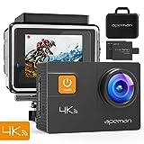 apeman Action Cam 4K Wifi 20MP Wasserdicht Unterwasserkamera Sports Camera Ultra Full HD Helmkamera mit 2 verbesserten Batterien Transporttasche und kostenlose Accessoires