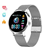 GOKOO Bluetooth Smartwatch Damen Herren Sportuhr Fitnessuhr Intelligente Armbanduhr mit Schrittzähler Pulsmesser Schlafmonitor für Android IOS (Silber)