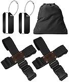Koffergurt Set 4 Stück - Gepäckgurt zum sicheren Verschließen der Koffers auf Reisen + GRATIS 2 Kofferanhänger - Kofferband Gurt Kreuz verstellbar & rutschfest - Schwarz von BLACK BISON