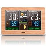 FanJu FJ3378W Funkwetterstation Funk mit Außensensor/USB-Ladeanschluss/Innen-/Außentemperatur und Luftfeuchtigkeit/Uhr/Mondphase/Uhren mit Thermometer