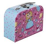 Bieco Kinderkoffer mit Prinzessin Motiv, Koffer aus Pappe, Metall-Tragegriff, Köfferchen für Kinder, Kindergepäck, 25 cm, 4 L, Hellblau/ Pink