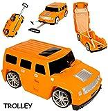 alles-meine.de GmbH 3 in 1: großer _ Kinder - Trolley + Sitz -Koffer -  Auto - Jeep / Truck - orange  - Sitzkoffer zum Ziehen + Schieben / Sitzen & Spielen -...