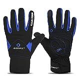 Inbike Fahrradhandschuhe Winter Thermo Gepolsterte Handfläche Radsport Gel Handschuhe Windddichte(Blau,M)