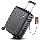 Koffer Trolley REYLEO Hartschalen-Koffer Trolley Rollkoffer Reisekoffer mit USB-Ladeanschluss, TSA Zahlenschloss und Zwillingsrolle, Geräuschlos, Stabil (55cm, 46 Liter, 4 Rollen)