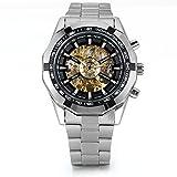 JewelryWe Herren Armbanduhr, Analog Quarz, Fashion Business Casual Handaufzug mechanische Uhr mit Edelstahl Armband, Schwarz Bezel Skelett Zifferblatt