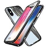 WindCase iPhone XS Hülle, iPhone X Hülle, 360 Grad Komplettschutz Metall Bumper mit Magnetischer Adsorptionskasten +Transparent Gehärtetes Glas Ganzkörper-Koffer Schutzhülle für iPhone XS/X Schwarz