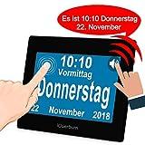 iGuerburn Digitaler Sprechende Kalender Touchscreen Wecker Tag mit 8' Großer Bildschirm für Demenz, Alzheimer, Senioren / 6 Sprachen, Sprecher Funktion & Ärzte Erinnerung (Schwarz)