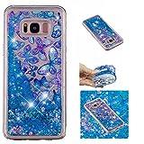 KM-Panda Samsung Galaxy S7 Hülle Glitzer Bling Liquid Flüssig Tasche Schutzhülle Handyhülle Transparent mit Muster Ultra Slim Dünn Silikon Bumper Etui Durchsichtig - Schmetterling Blau Blumen
