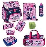 Familando Scooli Schulranzen-Set rosa Disney Minnie Maus 9 tlg. mit Federmappe, Dose, Flasche, Sporttasche und Regenschutz
