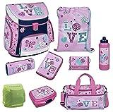 Familando Scooli Schulranzen-Set rosa Butterfly Ladybug LOVE 9 tlg. mit Federmappe, Dose, Flasche, Sporttasche und Regenschutz