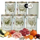 AniForte PureNature Nassfutter 5+1 getreidefrei Probierpaket 6x400g Huhn Wild Pute Lamm Rind Hundefutter- Naturprodukt für Hunde
