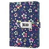 Nainaiwu Tagebuch, Notizbuch mit Schloss, Einband aus Kunstleder mit schönem Blumenmuster, Notizheft, A5-Größe, Reisetagebuch für Mädchen und Jungen Mehrfarbiges Blumenmuster