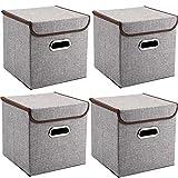 MEE'LIFE Griffe Aufbewahrungsboxen 4-Pack Leinen Stoff Faltbare Korb Würfel Organizer Boxen Container Schubladen mit Deckel und Griffe für Büro Kinderzimmer Schlafzimmer Shelf Grey