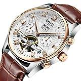 Sharplace Kinyued luxuriöse Herren-Armbanduhr, Edelstahl, automatisch, mechanische Uhr mit Armband aus echtem Leder, hohl, wasserdicht, braun