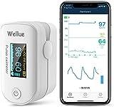 Wellue Pulsoximeter, Sauerstoffsättigung, Gesundheitsmonitor,Sauerstoffgehalt, Tragbares Gerät,Überwachung von Herzfrequenz und Sp-O2-Pegeln, mit APP über...