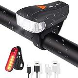 ELEHOT Fahrradbeleuchtung Set USB Automatische Lichteinstellung IPX6 Wasserdicht Fahrradlichte Set mit 5 Leuchtmodi Fahrradlampe Set inkl Wiederaufladbare 450...