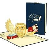 LIN POP UP Karte - 3D Klapp-Karte zur bestandenen Prüfung, Abschluss, Abitur, Bachelor Master - Glückwunsch-Karte - Gutschein Buch - mit Eule Büchern