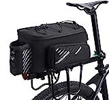 ROCKBROS Fahrrad Gepäckträgertasche Fahrradtasche Hinter Transporttasche Gepäcktasche mit Regenschutz Wasserdicht Schwarz Faltbare Seitentaschen 9-12L