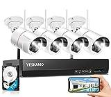 YESKAMO Überwachungskamera Set Flutlicht Aussen WLAN,3MP IP Cameras mit 8CH NVR 5MP Überwachungssystem mit 1TB HDD für Hausalarmanlagen mit AI PIR...
