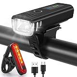 WQJifv LED Fahrradlicht Set, StVZO Zugelassen USB Fahrradbeleuchtung Aufladbar Frontlicht/Rücklicht,Wasserdicht Fahrradlichter Vorne Akku Wiederaufladbar...