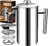 [1 Liter / 1000 ml} 8 cups Kaffeebereiter - Doppelwandige Edelstahl - Kaffeemaschine - Französische Kaffeepresse - Kaffeekanne - Französisches Pressensystem...