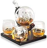 LHY Whisky Decanter Namenlos Geätzte Globe Geschenkset-Gläser & Glasgetränk Getränkespender auch für Brandy Tequila Bourbon Scotch Rum -Alkohol Verwandte...