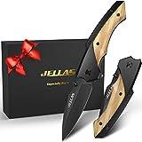 Taschenmesser mit Spitzer und Gürteltasche, JELLAS J-003 Klappmesser mit Schwarz Beschichteter 7Cr17-Klinge, Outdoor Messer für Camping, Jagd, Angeln mit...
