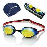 ARiety Profi Schwimmbrille mit Badekappe im Triathlon Set - Wettkampf Schwimmerbrille zum Training oder Freizeit - Anti-Fog - 100% UV-Schutz - verspiegelte...