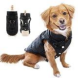 Eastlion Winter Hundemantel Warm Wasserdicht Hundejacke Welpen Hunde Kleidung Bekleidung Weste mit D-Ring,Schwarz,Größe XS
