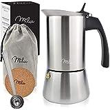 Milu Espressokocher (2 Cup No Induktion) | 2, 4, 6 Tassen| Edelstahl Mokkakanne, Espressokanne, Espresso Maker Set inkl. Untersetzer, Löffel, Bürste...
