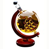 CLX Finest Glas Whiskey Dekanter-Set  850 Ml Glas-Karaffe Globus Segelschiff Mit Gravierter Weltkarte,Rot