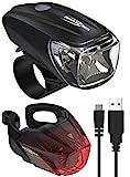 ANSMANN Fahrradlicht Set StVZO zugelassen - Akkubetrieben und aufladbar über USB, CREE LED, regensicher, einfache Montage, abnehmbar - Fahrradbeleuchtung...
