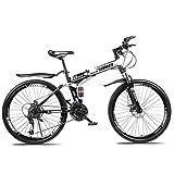 LHQ-HQ Mountainbike Falträder, 26' 30Speed Doppelscheibenbremse Fully Antislip, leichten Alurahmen, Federgabel Outdoor-Sport Mountainbike (Color : White,...