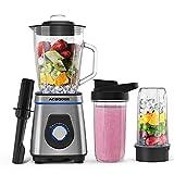 Standmixer Smoothie Maker, 1200w Blender Mixer mit 1.5 Liter GlasbehÄlter, 2x Trinkbecher für Ice Crush, Smoothie, Juice und Pulse, SpÜlmaschinenfest,...