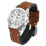 MEACOM Sprechende Armbanduhr, Deutsch Zeitansage Uhr mit Edelstahl Zifferblatt Lederband Blindeuhr Sprachfunktion für Alter/Blinde/Optisch Beeinträchtigte...