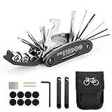 Woopus Fahrrad-Multitool, 16 in 1 Werkzeuge für Fahrrad Tragbare Werkzeuge Set Tasche mit Kette Werkzeug und Reifenpatch Hebel,Selbstklebendes Fahrradflicken...