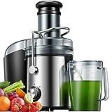 Entsafter, 800W Entsafter für Obst und Gemüse aus Edelstahl große 75 MM Einfüllöffnung inkl Reinigungsbürste und Saftbehälter, Anti-Tropf-Funktion und...