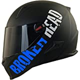 Broken Head BeProud Blau Ltd - Schlanker Motorradhelm Mit Schwarzem Zusatz-Visier - Matt-Schwarz - Größe M (57-58 cm)
