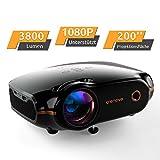 Mini Beamer, Portable Crenova Video Projektor, HD Beamer mit 200' Bildgröße unterstützt 1080P,3800 Lumen für PC/DVD/TV/Xbox/Filme/Spiele/Smartphone mit...