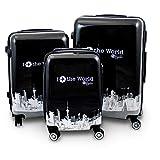 BERWIN® Design Koffer Reisekoffer Trolley Hartschalenkoffer Polycarbonat mit 4 Rollen als Set und Einzeln (Fly The World, 3er Set (M/L/XL))