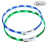 Zacro leuchthalsband Hund 2 Stück hundehalsband Leuchtend USB Wiederaufladbares und Längenverstellbareres Hunde Halsband mit DREI Beleuchtungsmodi für Hunde...